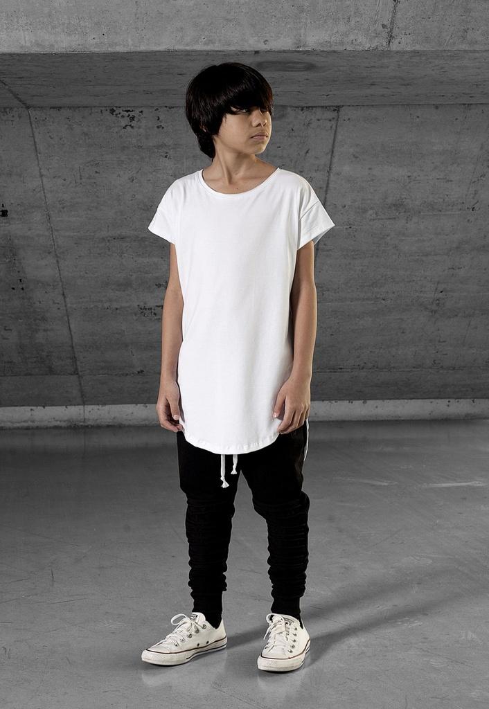 Camiseta Longline Infantil Branca Gola Canoa