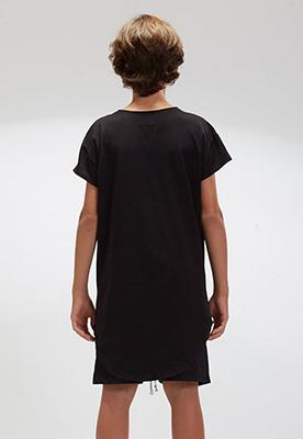 Camiseta Longline Infantil Preta Gola Canoa
