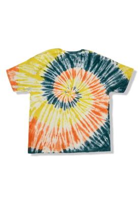 Camiseta Tie Dye Espiral Oversized Azul Laranja e Amarelo